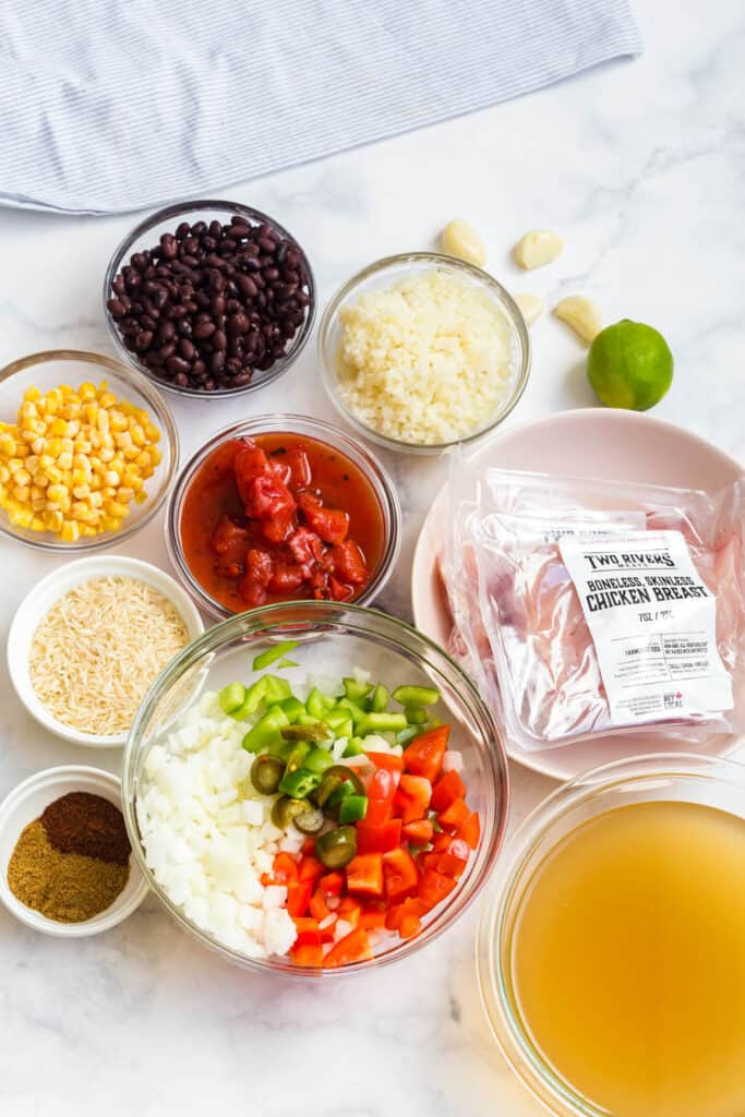 ingredients for southwestern chicken soup recipe