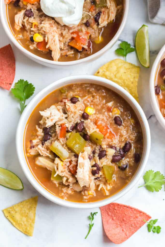 overhead shot of soup with black beans, chicken, and rice