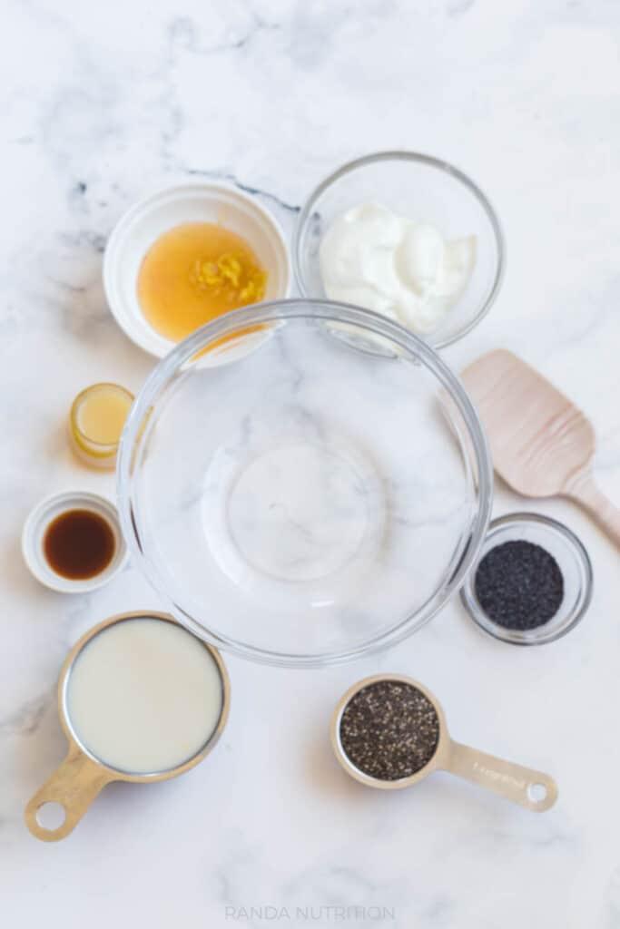 lemon chia pudding ingredients