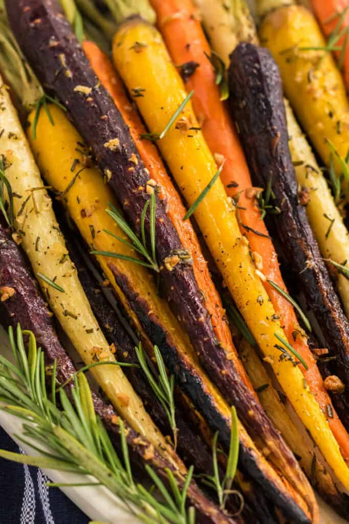 close up of roasted multi colored carrots